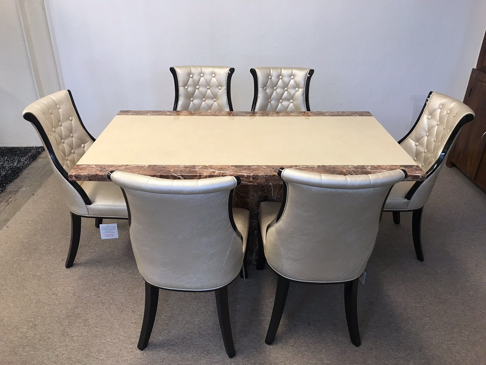 Monaco 180cm Marble Dining Table And 6 Gold Curveback
