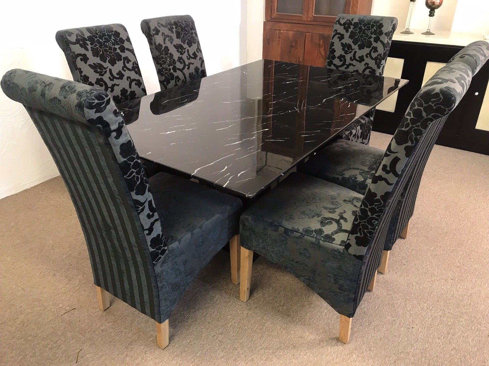 Florence 160cm Marble Dining Table And 6 Black Tall Scrollback Chairs Designer Marble