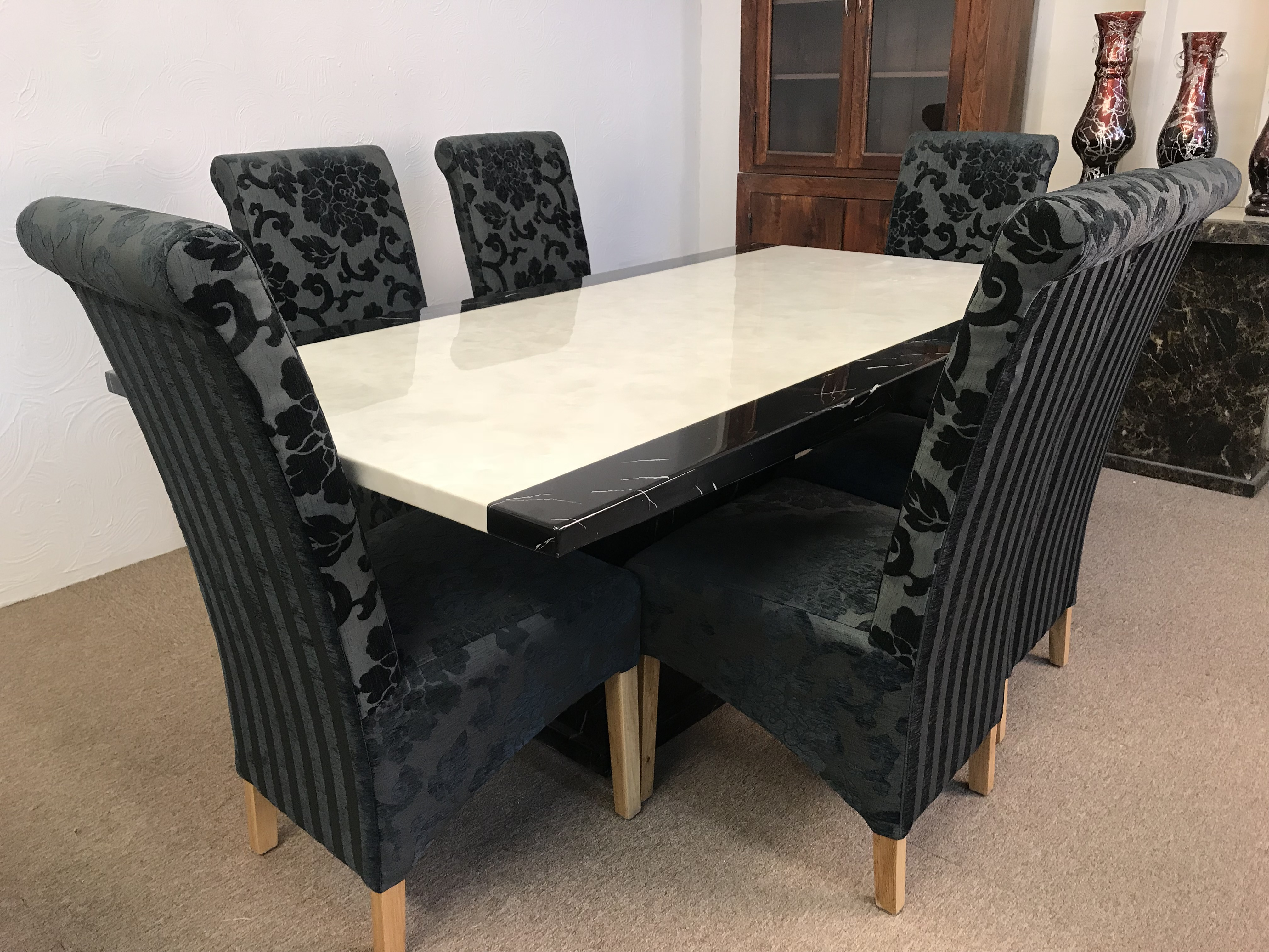 Monaco B W 180cm Marble Dining Table And 6 Black Tall Scrollback Chairs Designer Marble