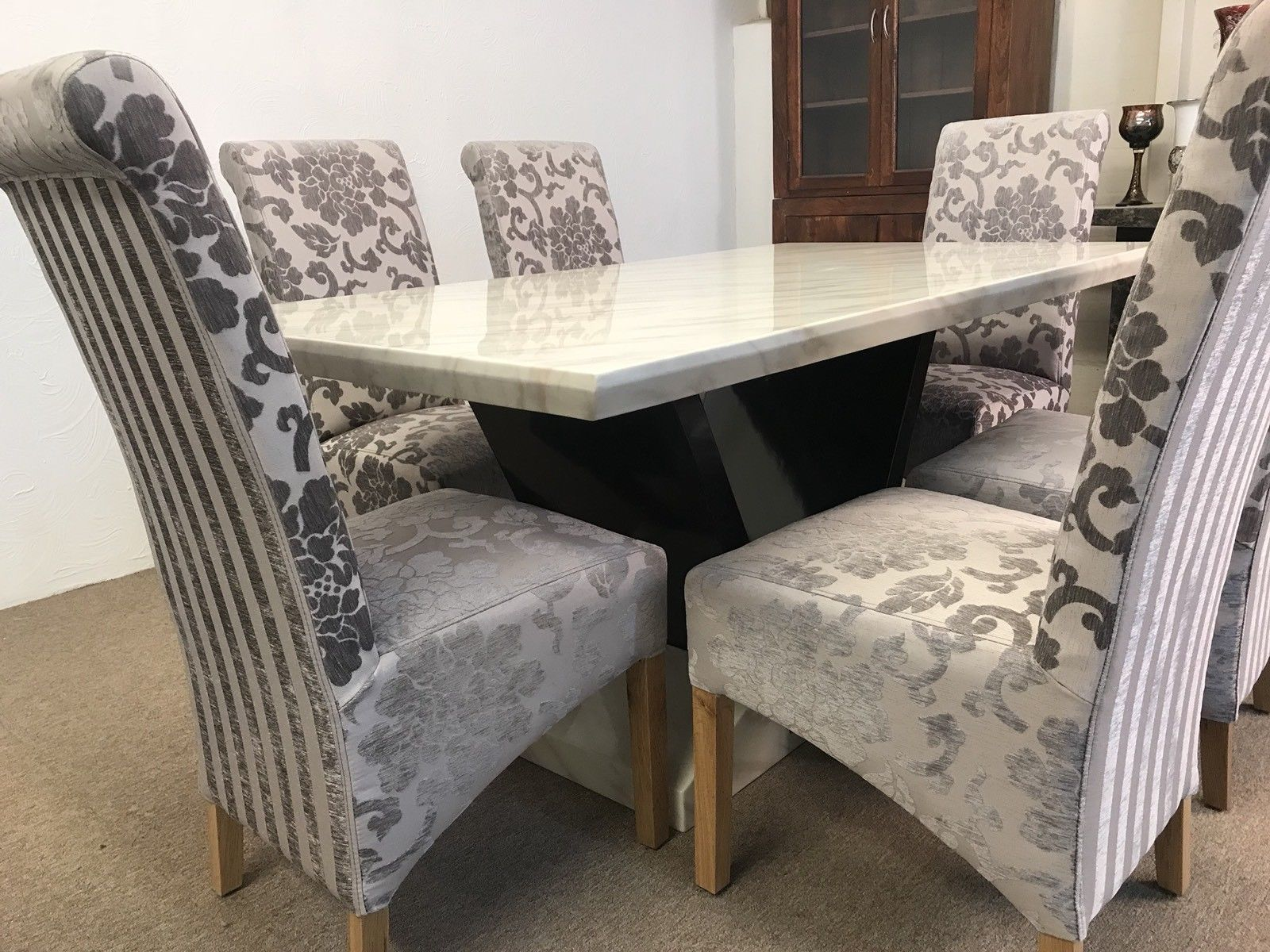 Munich 160cm Marble Dining Table And 6 Mink Tall Scrollback Chairs
