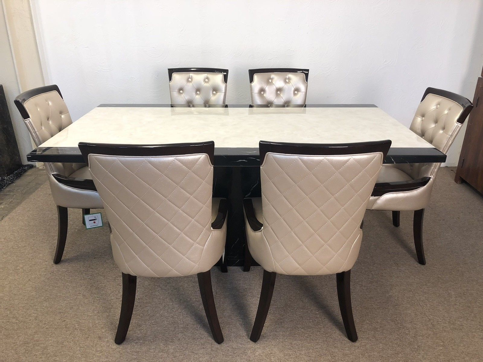 Monaco B Amp W 160cm Marble Dining Table And 6 Gold