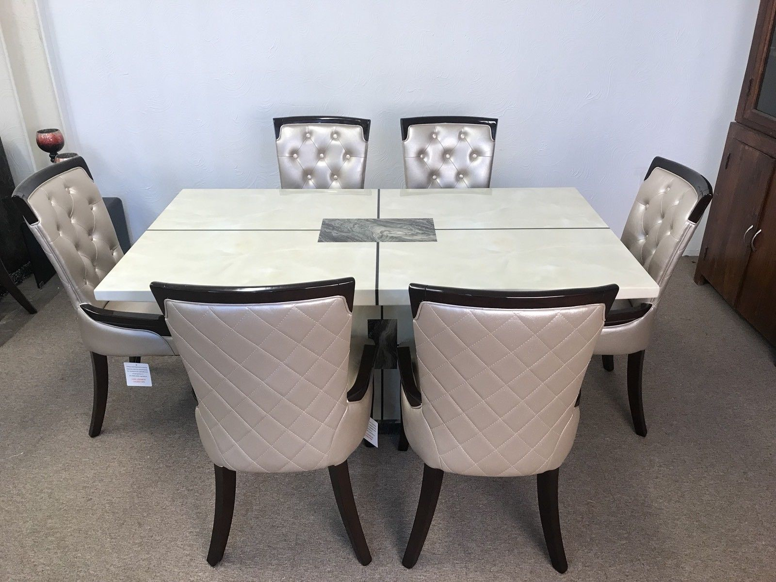 Marble Dining Table And 6 Chairs: Venice 160cm Marble Dining Table And 6 Gold Straightback