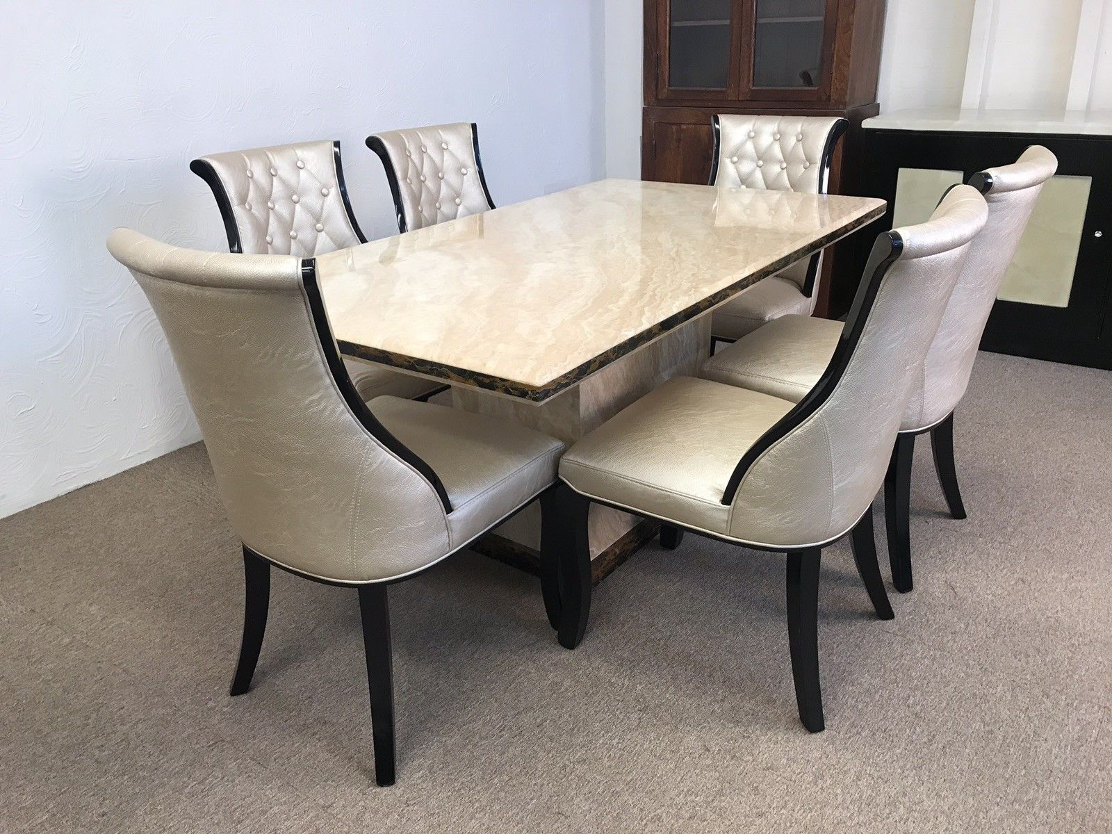 Madrid 160cm Marble Dining Table And 6 Gold Curveback