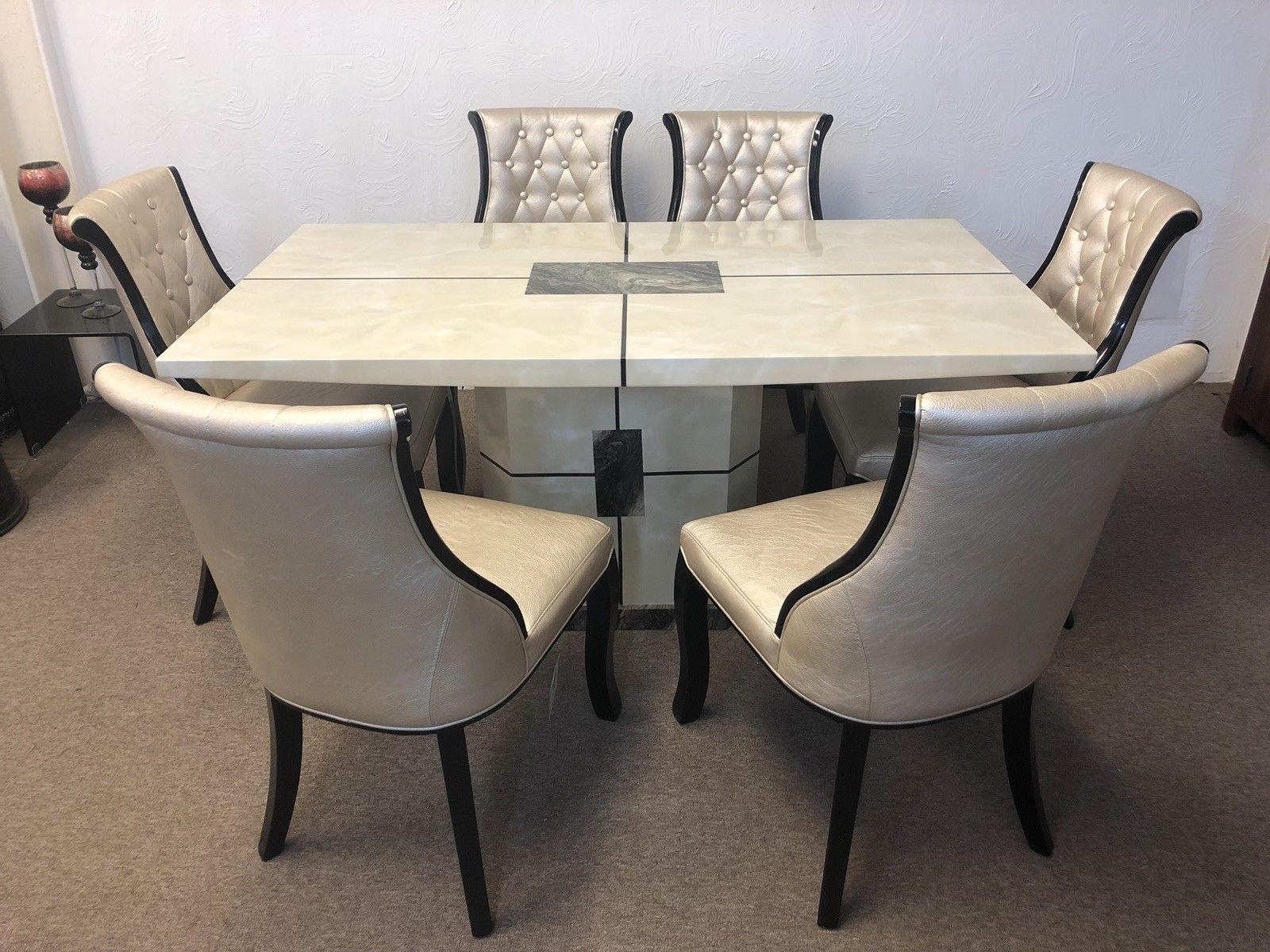 Marble Dining Table And 6 Chairs: Venice 160cm Marble Dining Table And 6 Gold Curveback
