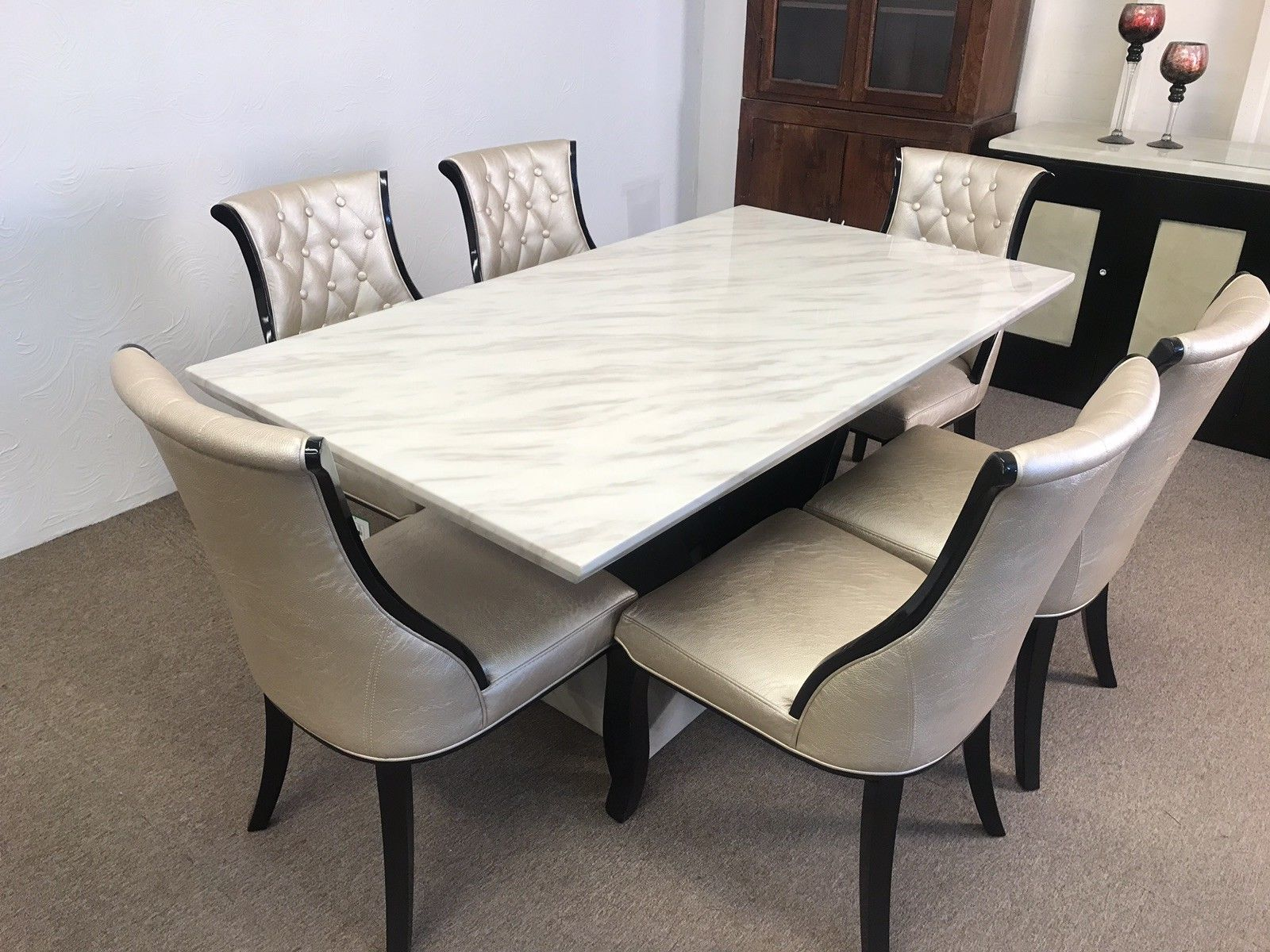 Munich 180cm Marble Dining Table And 6 Gold Curveback