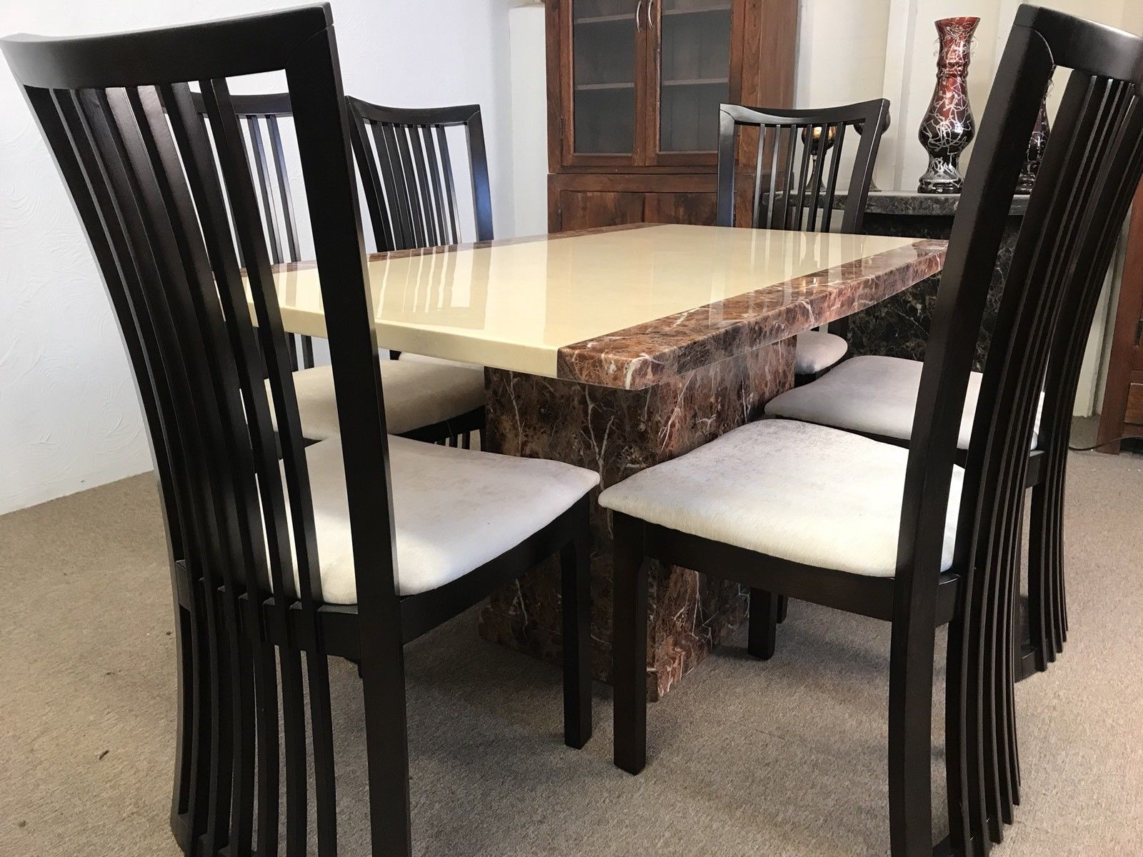 Monaco 180cm Marble Dining Table And 6 Curveback Chairs Designer Marble