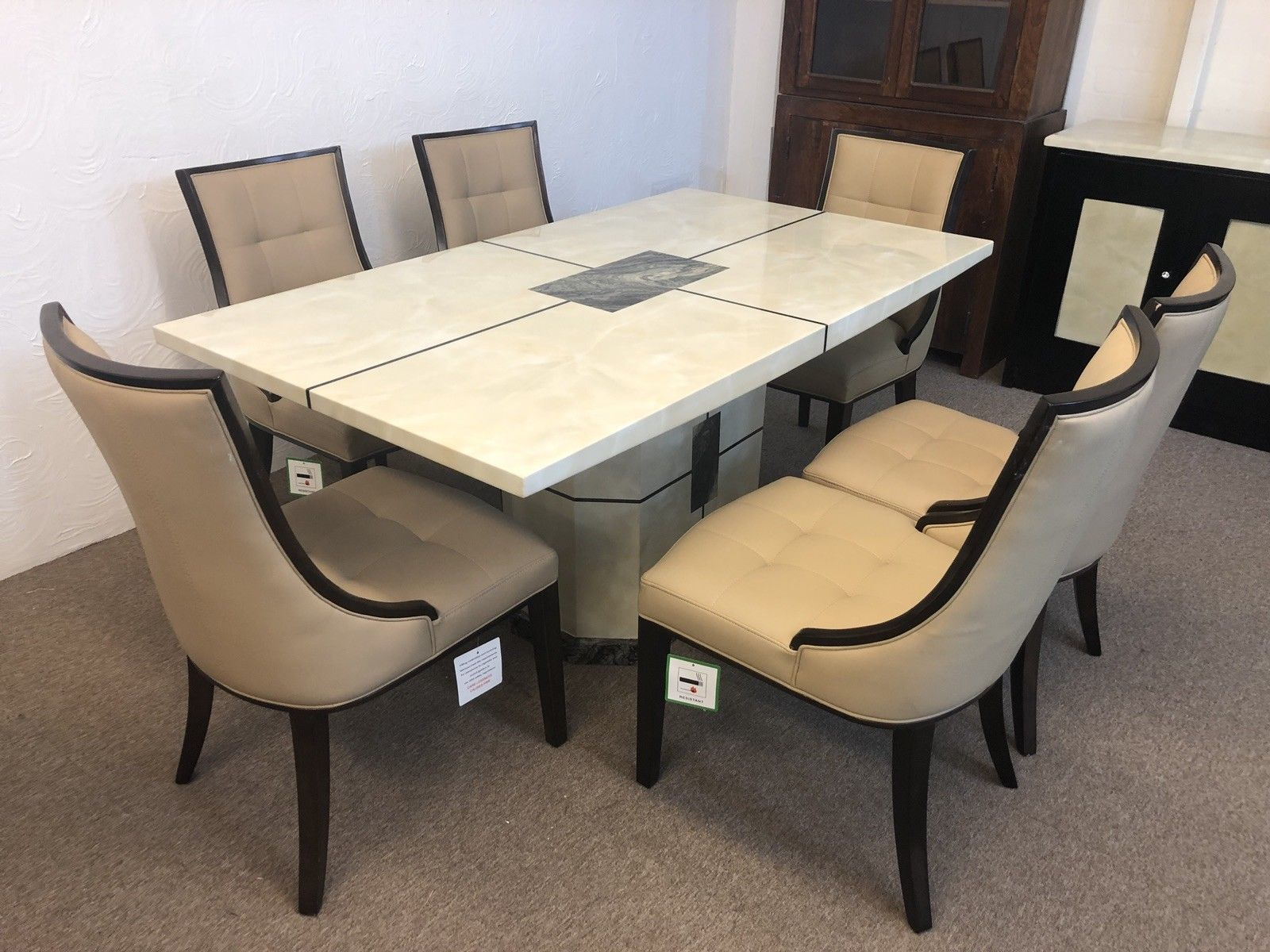 Miraculous Venice 180Cm Marble Dining Table And 6 Beige Colour Chairs Download Free Architecture Designs Embacsunscenecom
