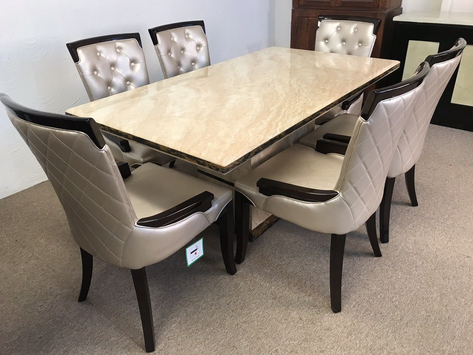 Magnificent Madrid 160Cm Marble Dining Table And 6 Gold Straightback Chairs Download Free Architecture Designs Boapuretrmadebymaigaardcom