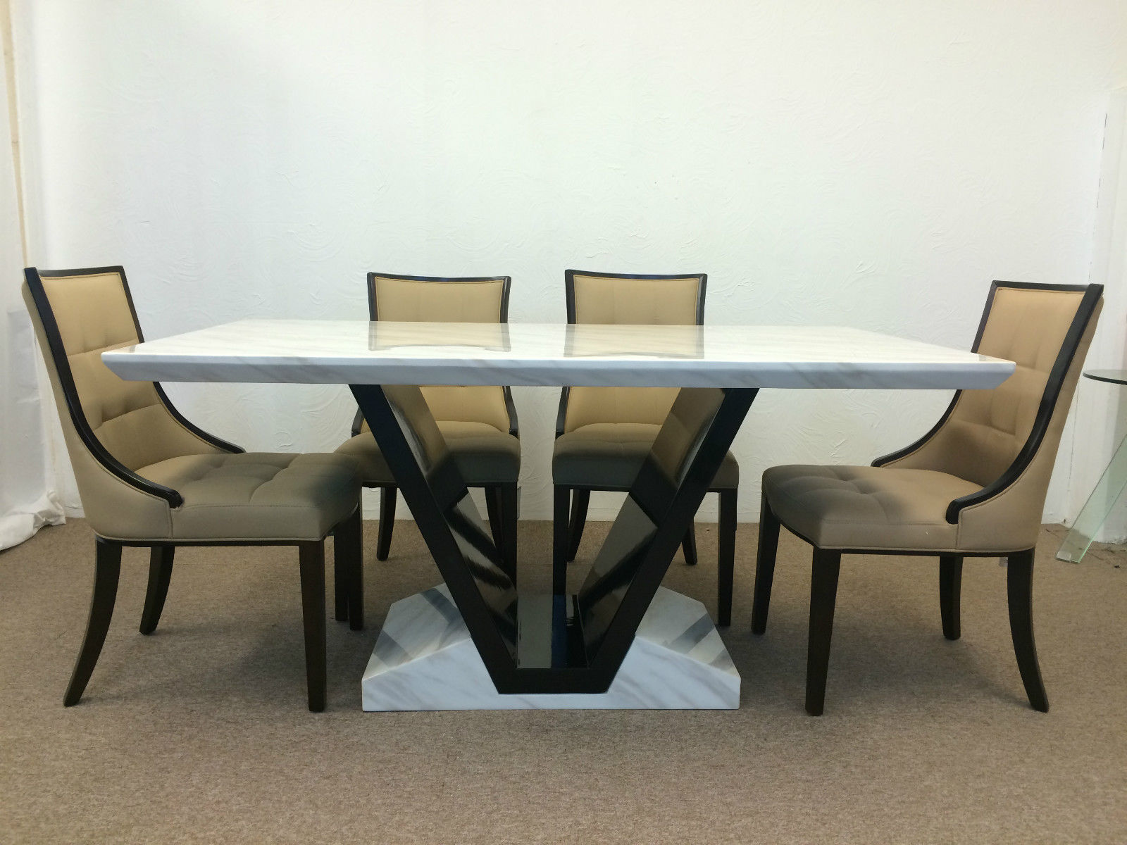 Munich 160cm Marble Dining Table And 6 Beige Colour Chairs