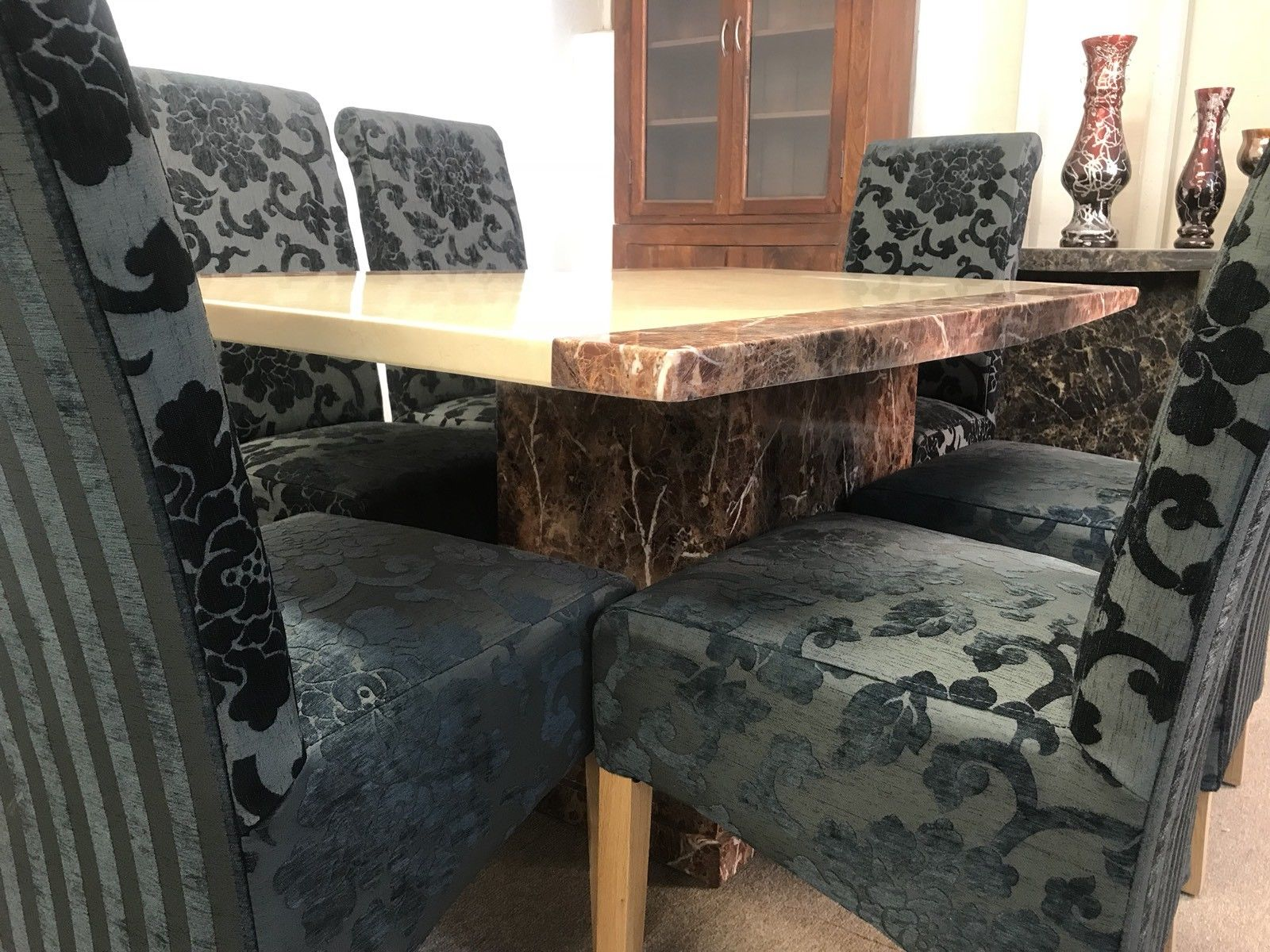 Monaco 160cm Marble Dining Table And 6 Black Scrollback Chairs Designer Marble