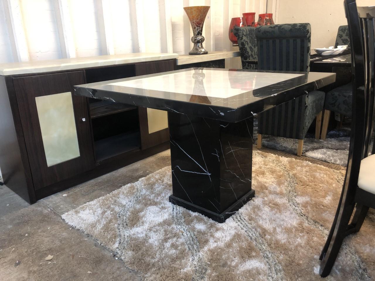Monaco Square Black White Marble Table 100cm2 Designer Marble
