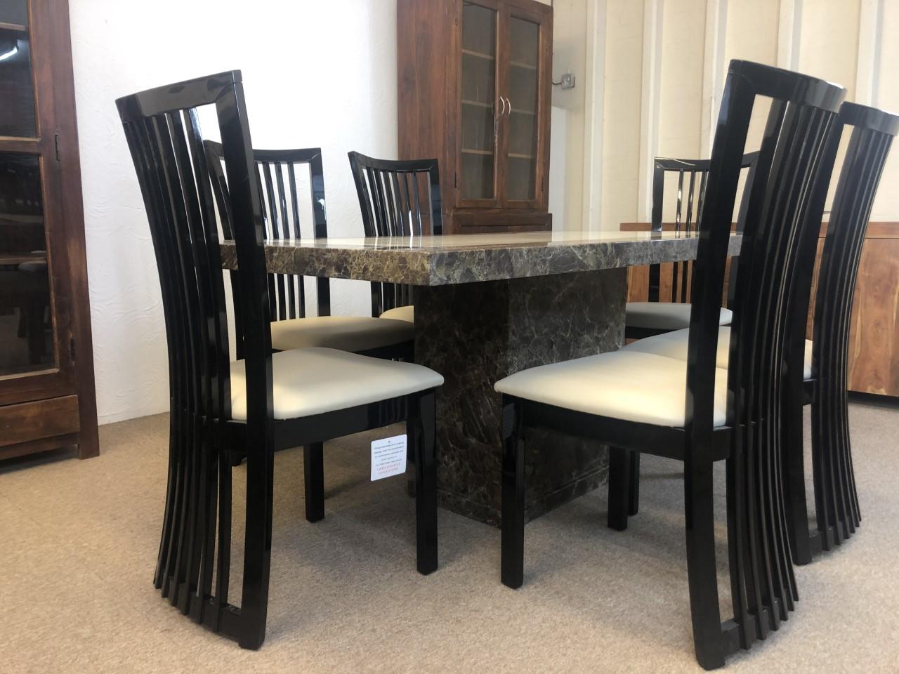 Rectangular Monaco Marble Dining Table 180cm 6x Curveback Chairs Designer Marble
