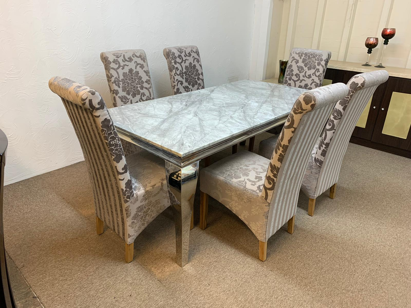Vienna Marble Chrome Dining Table 180cm 6x Hudson Mink Dining Chairs Designer Marble